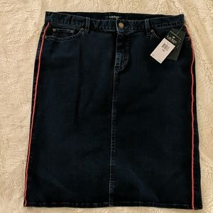 Ralph Lauren jean skirt with red pin stripes